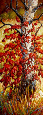 Artist: Audrey  Pfannmuller, Title: Cranberry & Birch - click for larger image