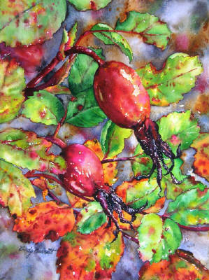 Artist: Cindy Barratt, Title: Alberta  Rose Hips #4 - click for larger image