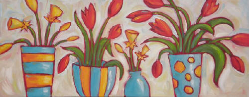 Artist: Cindy Revell, Title: Tulips and Daffodil Rhythm - click for larger image