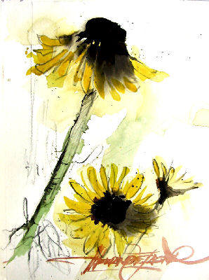 Artist: Henry deJager, Title: Three Yellow Flowers - click for larger image