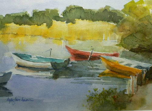 Artist: Lyla Jacobsen, Title: Boats at Rest - click for larger image
