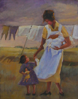Artist: Lyla Jacobsen, Title: Washing Day with Mama - click for larger image